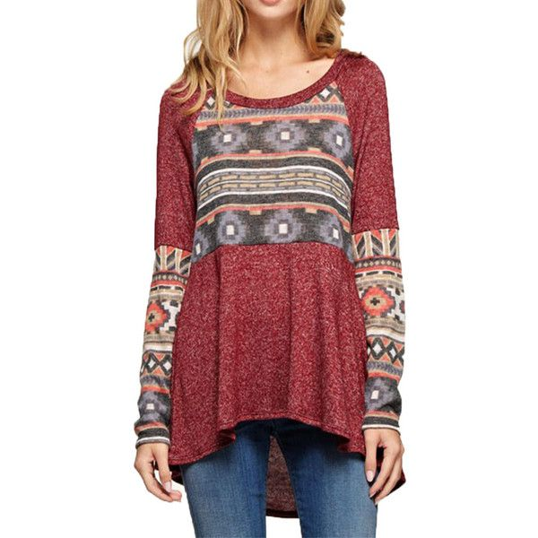 Mon Ami 12pm By Aztec Sleeve Top Burgundy - L Shoes ($15) ❤ liked on Polyvore featuring tops, burgundy, long tops, long sleeve pullover, aztec top, round top and semi sheer top