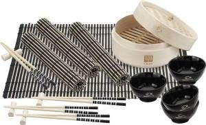 Bamboo Steamer Set. This four person dining set made with FDA compliant materials includes Bamboo steamer, chopsticks, rests, placemats and ceramic bowls.