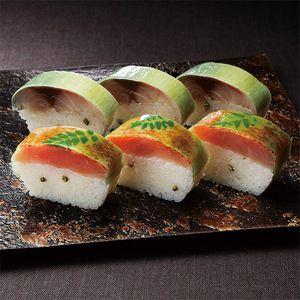 <滋賀>漁場から直送した肉厚な素材に、山椒の風味をきかせて。【滋賀 鯖の棒すしと金目鯛あぶりすし】