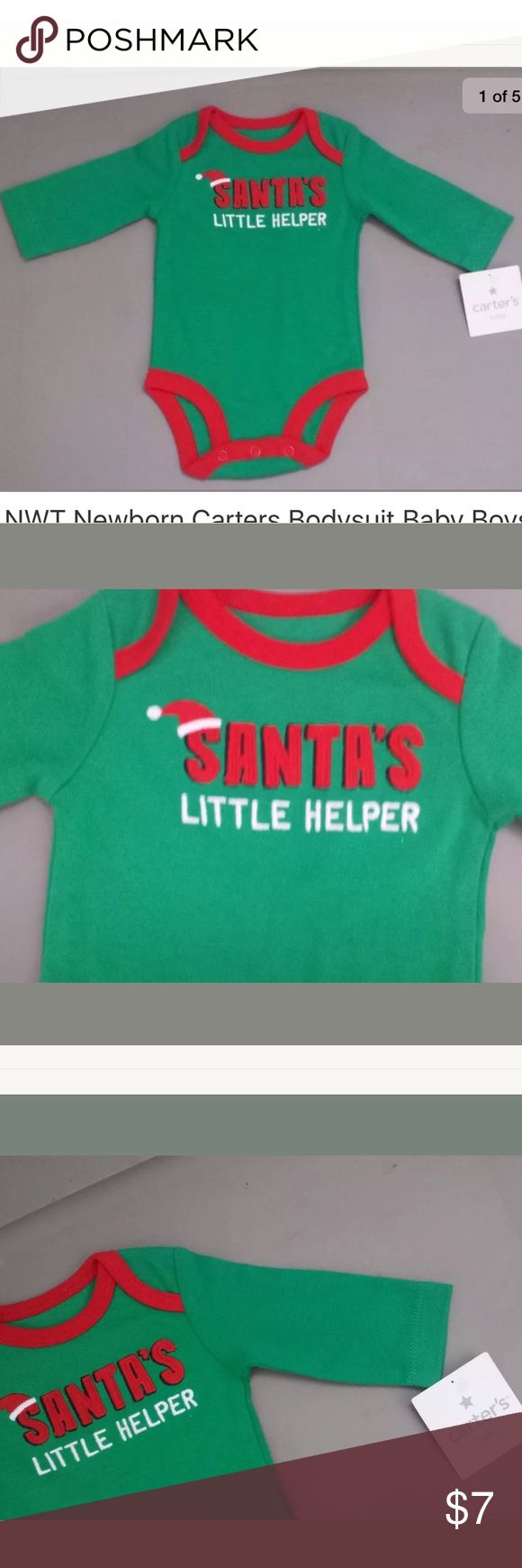 """NWT Carters Christmas Santas Little Helper Green NWT Newborn Carters Bodysuit Baby Boys Christmas Santas Little Helper Green   Expandable shoulders for easy over-the-head dressing Detailed with """"Santa's Little Helper"""" applique embroidery Snaps on reinforced panel help make diaper changes fast and easy Matches lots of bottoms for easy outfits 100% cotton Imported Machine washable  Smoke and pets free home Carter's One Pieces Bodysuits"""