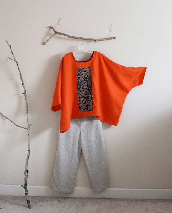 over size orange linen top with vintage by annyschooecoclothing