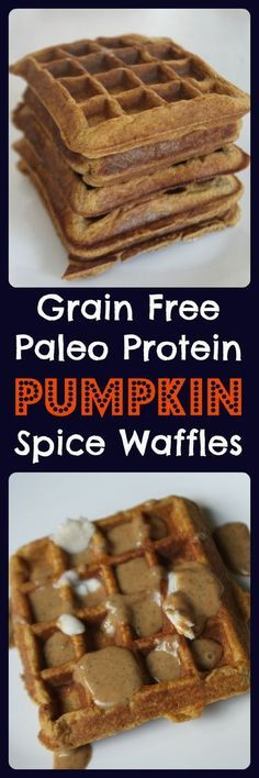 Grain Free Paleo Pumpkin Spice Protein Waffles - This recipe uses coconut flour, flax and arrowroot in place of wheat flour. They are a perfect low-carb, Paleo breakfast or snack that can be frozen and re-heated in the toaster. They are sugar, grain and dairy free so they are even allowed on the Candida diet. A delicious and clean alternative to traditional waffles!