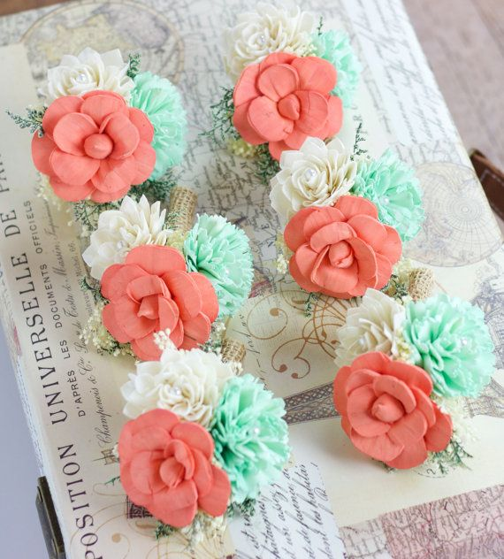 Wedding Flowers, Pin Corsage, Mint, Coral, Ivory Mother