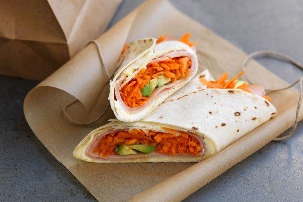 Wrap up this cream cheese, carrot and ham combo for a tasty lunch-box treat.
