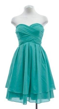Jessica Simpson strapless tiered dress in aqua