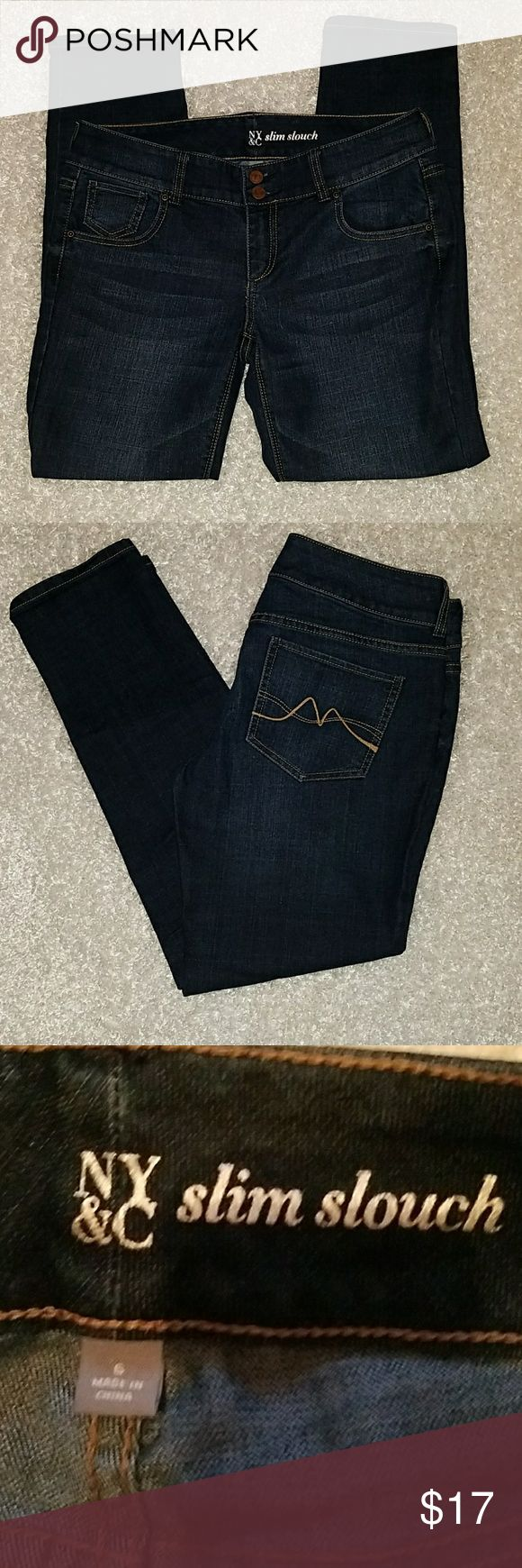"NY&C Size 6 slim slouch jeans Excellent used condition.                                        Waist - 27""   Inseam - 28""                                        measurements taken while laying flat and are appropriate. NY&C Jeans Skinny"