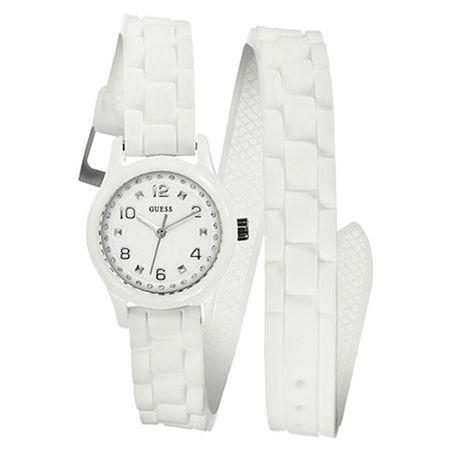 Wit horloge van Guess. Dit Witte horloge heeft een dubbele horlogeband en is uit voorraad leverbaar bij http://www.kish.nl/Guess-U65013L1/