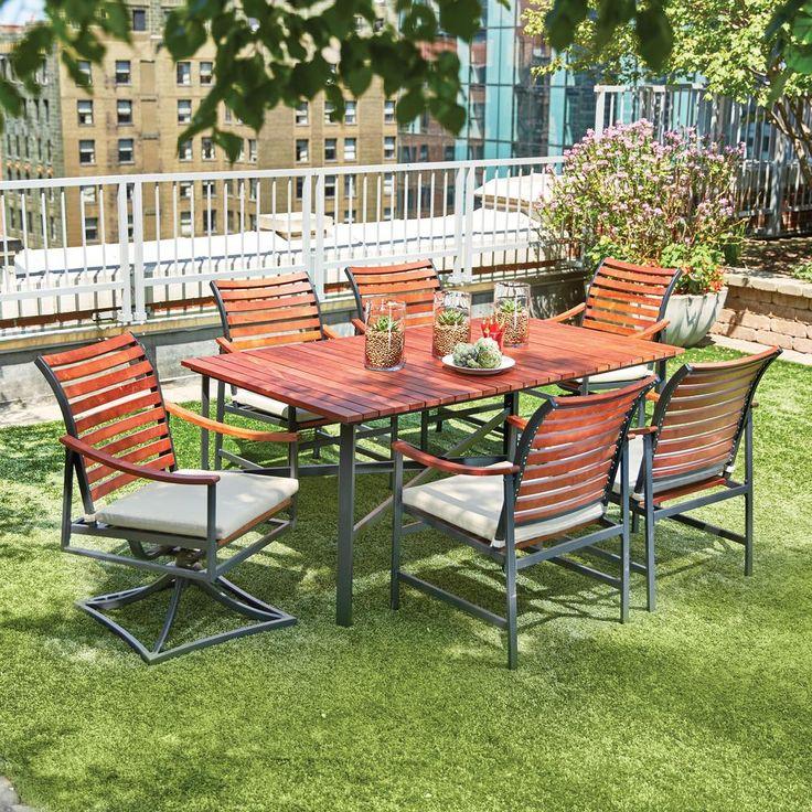 699 Home Depot Hampton Bay Plaza Mayor 7 Piece Rectangular Wood Outdoor Dining Set