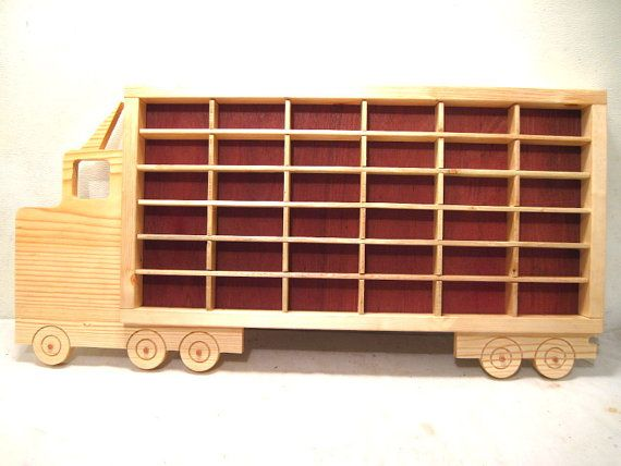 Wood Effect Kids Playroom Bedroom Storage Chest Trunk: Hot Wheels, Boys, Wood, Truck, Display, Case, Toy, Wall