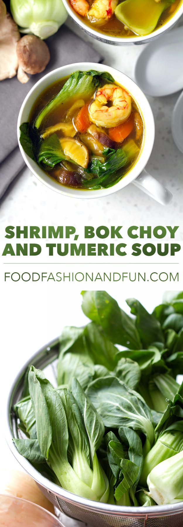Packed full of delicious and healthy ingredients like turmeric, bok choy and shrimp for a healthy gluten free soup recipe.