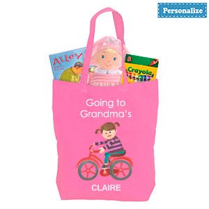 """Product # DC46911 - Personalized tote makes visiting grandma's tons of fun! Brightly coloured tote bag with a charming design on the front has plenty of room for toys, snacks, change of clothes, even a favourite """"blankey"""" - great for a night at grandma's house! Lightweight natural cotton bag. Personalization: Name, up to 10 characters. 16-1/2""""H x 11""""L x 3-1/2""""W  $9.98"""