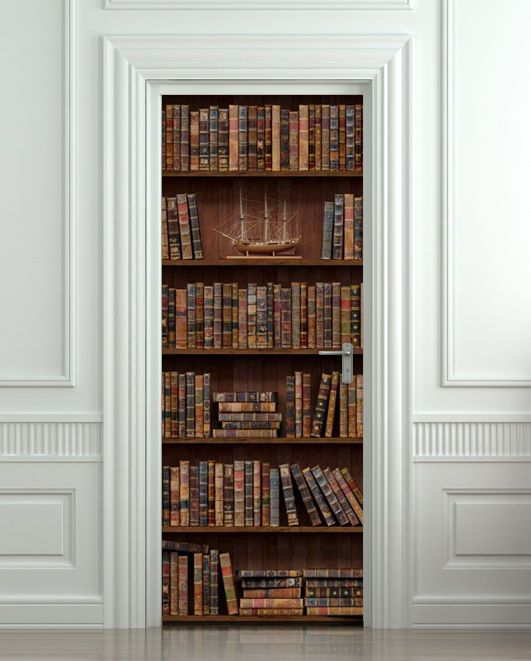 Door STICKER shelfs with antique books & 697 best Amazing illusion for your interior - wall or door! images ... pezcame.com