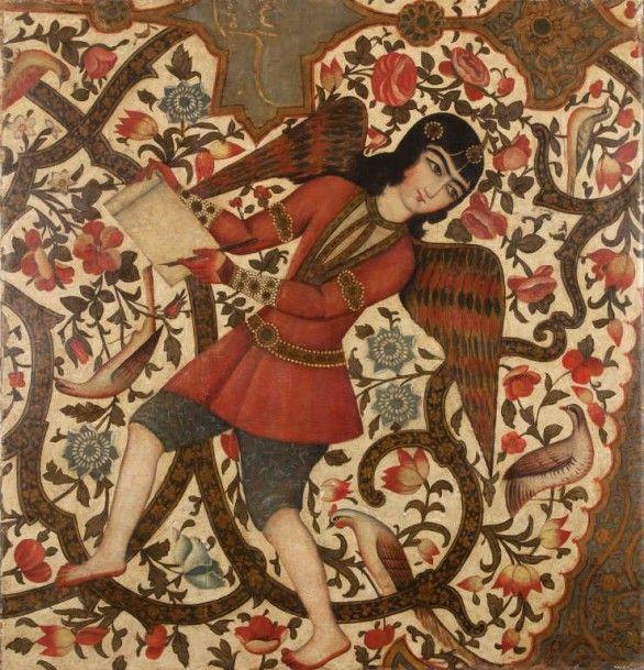 Moyen Orient Ange dans une composition florale, Iran qâjâr, XIXe siècle Huile sur toile. Partie de composition présentant un ange debout tenant une feuille et un qâlam près d'un cartouche inscrit du début… - Art-Valorem - 01/07/2015