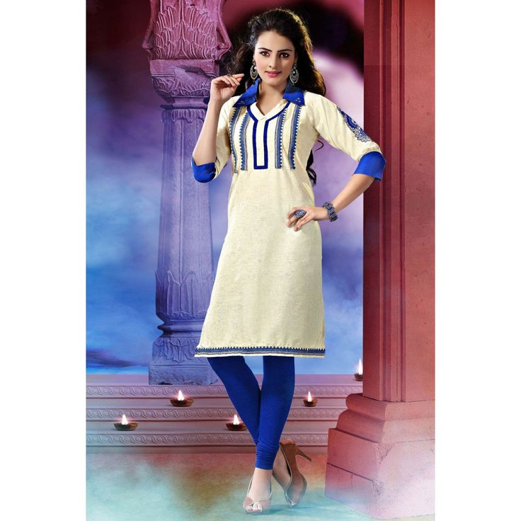 Attractive Off White Cotton Indian #Kurti #Tops #Dress #Clothing #Fashion