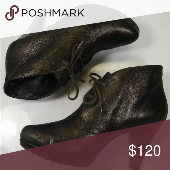 Paul green distressed bronze metallic booties Beautiful Paul green lace up bronze/ metallic soft leather bootie. 4' inch heel. Size 41/2 US 7 Paul Green Shoes Ankle Boots & Booties