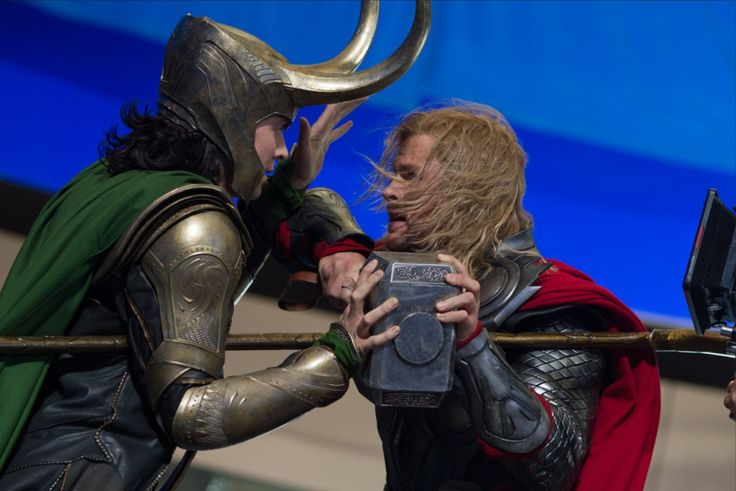 """*DYING*---->Joss Whedon wanted the fight between the two brothers to be REAL. So Hiddleston(Loki) turned to Hemsworth(Thor), """"Dude, just hit me."""" Thor's like, """"Are you serious??"""" Loki says, """"Do it!"""" Thor goes ahead and just gives him a blow, and when Hiddleston falls down, Thor raises his hands in the air to the crew, """"You heard him tell me to do it!!!"""" TRUE STORY"""