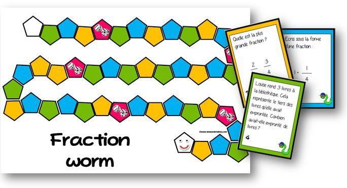 Fraction worm - jeu sur les fractions - La classe de Mallory