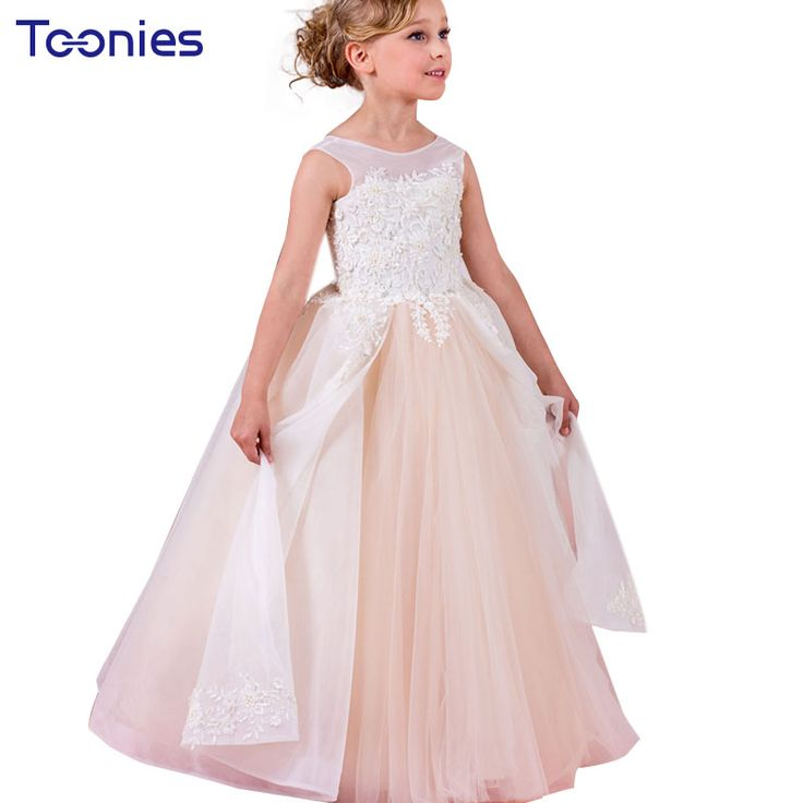 >> Click to Buy << Gorgeous Backless Children Fancy Dresses Christening Gown Pageant Dress Kids Bridesmaid Costume Lace Formal Party Ball Gown Prom #Affiliate