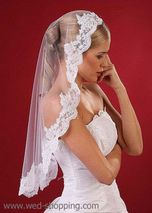 Bridal veil - handcrafted lace - beads & cequins