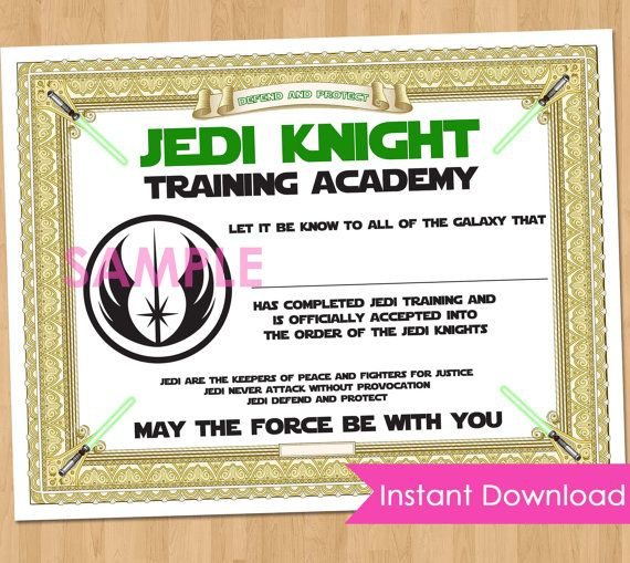 Jedi academy training certificate instant download star for Star wars jedi certificate template free