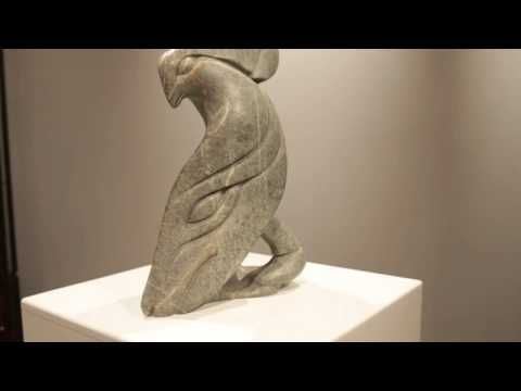 """Original soapstone sculpture """"Hawk Shaman"""" by contemporary Inuit sculptor Abraham Anghik Ruben. This sculpture measures 19 inches by 9 inches and is $5,250 Canadian."""