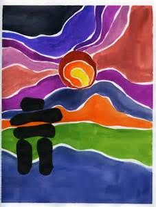 ted harrison paintings - I like the inukshuk in the foreground - great for warm and cool colours