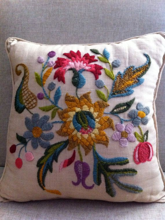 Vintage Crewel Work Pillow