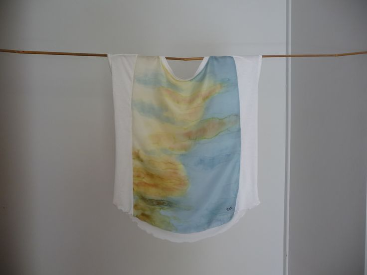 Clouds-Light handpainted on silk blouse