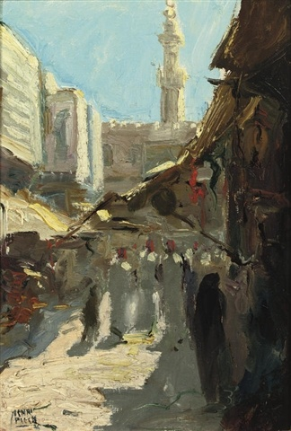 Cairo, Egypt, oil on canvas laid on cardboard, by Henri Christiaan Pieck, Dutch. 1895-1972