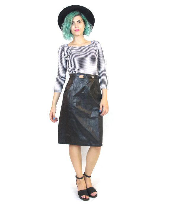 80s Black Leather Pencil Skirt High Waisted Avant by honeymoonmuse, $55.00