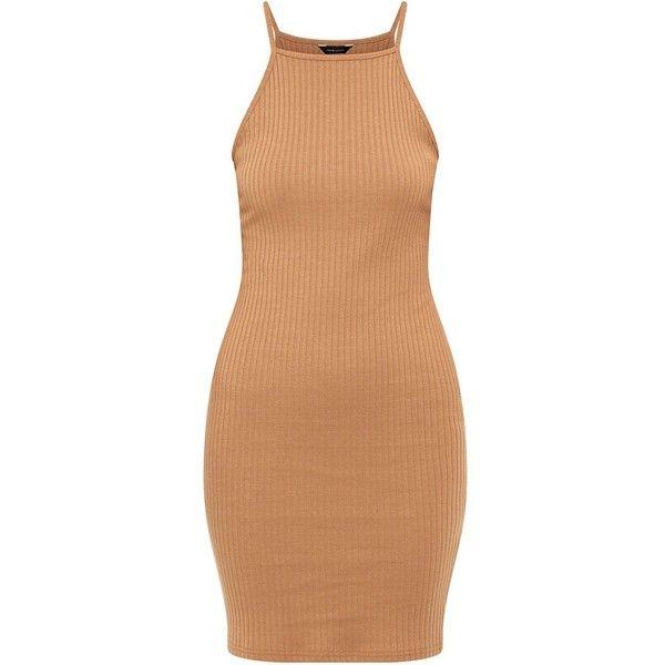 Camel Wide Ribbed High Neck Mini Dress ($7.57) ❤ liked on Polyvore featuring dresses, camel, beige dress, strap dress, slimming summer dresses, high neck dress y high neckline dress