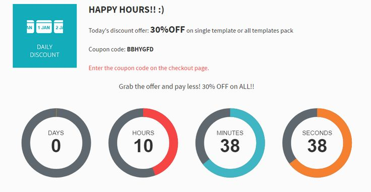 Happy hours! Grab a fantastic 30% discount on single Joomla template or all templates pack! Hurry up! #discount #sale #offer #joomla #template