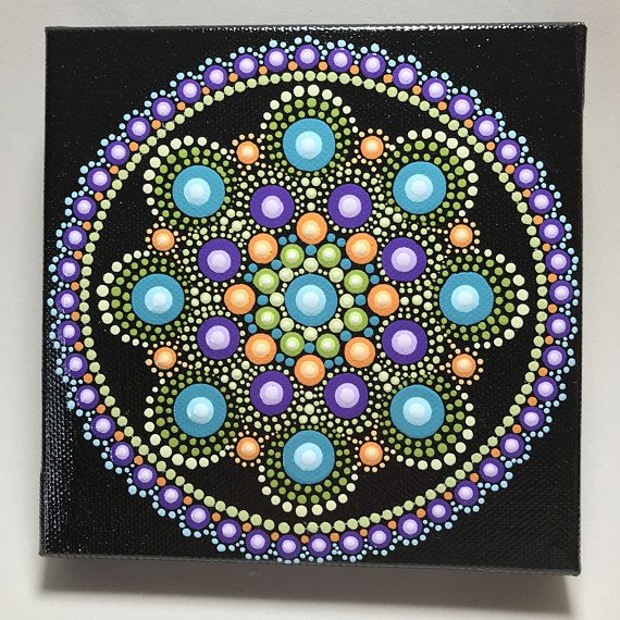 """Hand painted with acrylic in Green, Orange, Purple, and Teal. Sprayed with a high gloss sealer to protect the colors. Canvas size is 5"""" X 5""""."""
