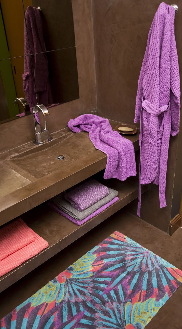 Tropical rug and Pousada robe and Super Pile towels by Abyss #luxury #tropical…