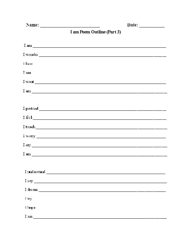 Poetry Worksheets and Printables