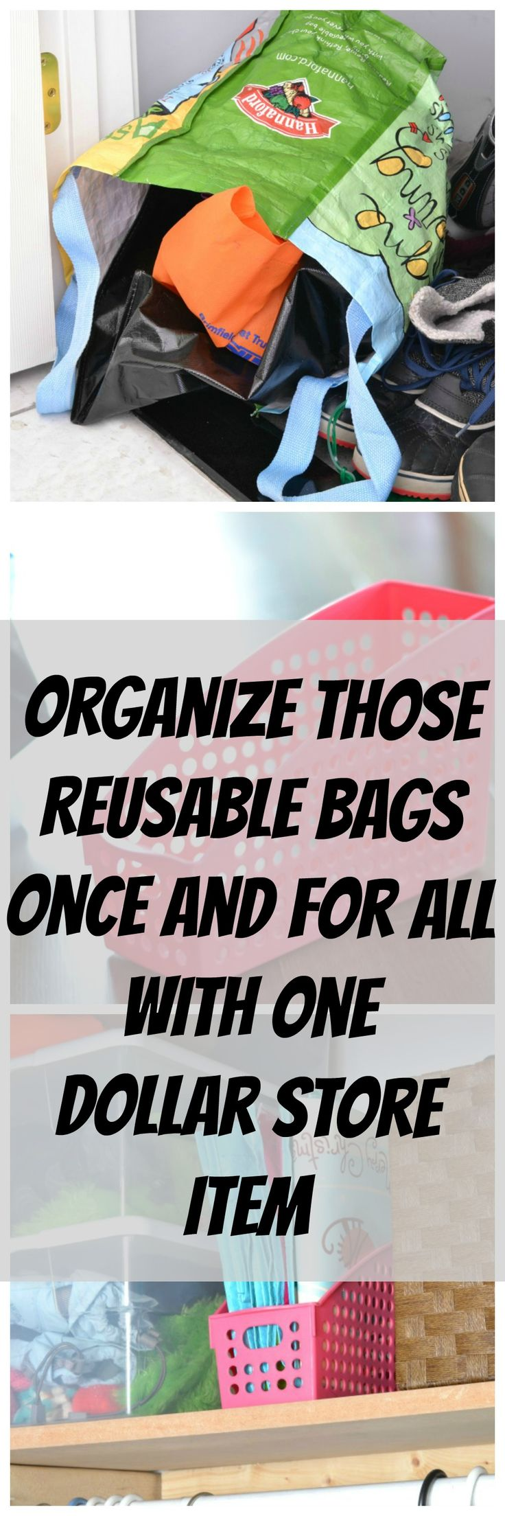 A super simple and inexpensive way to store reusable bags | Storage | Organization | iamahomemaker.com