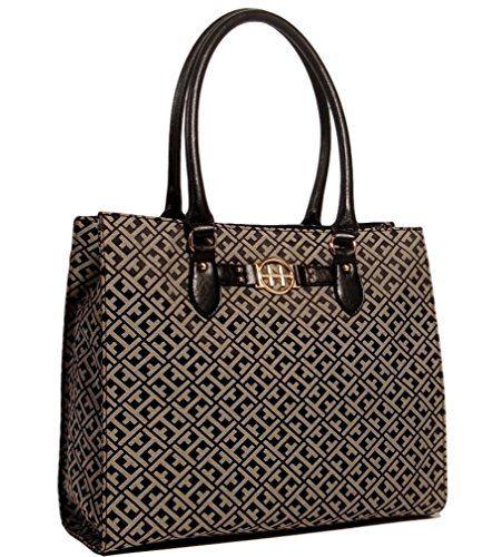 Tommy Hilfiger Large Shopper Tote Bag Handbag Purse (Black)