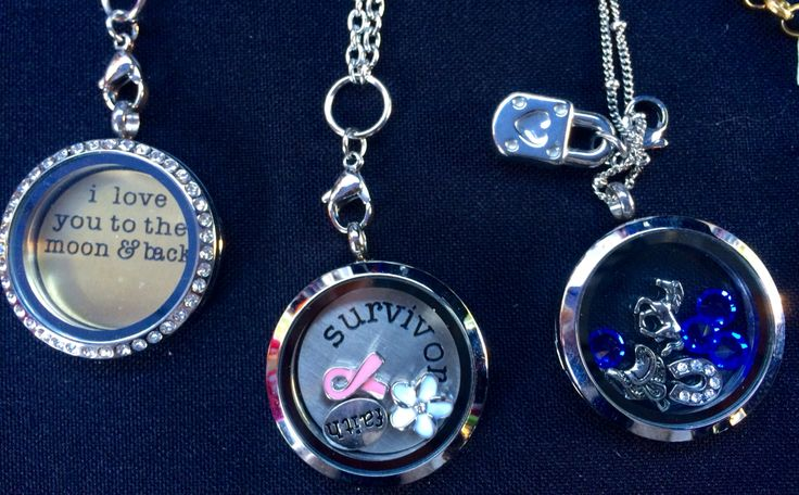I love you to the moon and back, breast cancer survivor, and horse lover lockets! Create your own at www.ellaandmay.com.au