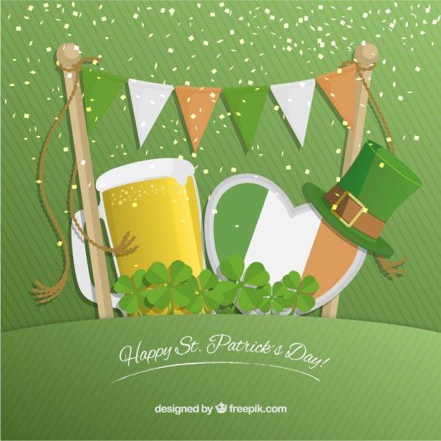 Tarjeta de San Patricio con cerveza y bandera irlandesa Vector Gratis San Patrick, Happy, Saints, Happy St Patricks Day, Free Vector Art, Happy Birthday, Ale, Ser Feliz, Being Happy