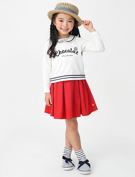 セーラースタイルに真っ赤なスカートがキュート♡ ☆小学生ファッション スタイルの参考コーデ☆