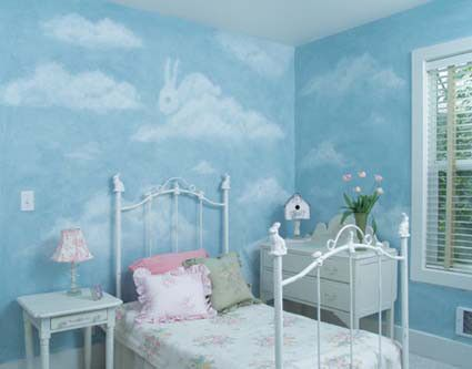How To Paint Clouds And Shapes On Walls Kids Rooms In