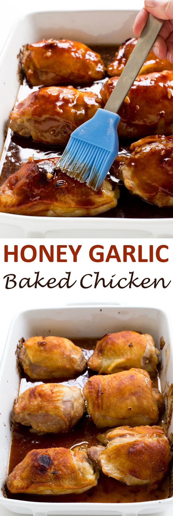 Honey Garlic Chicken Thighs marinated and baked until golden brown and juicy on the inside. They are topped with an amazing Honey Garlic sauce! | chefsavvy.com #recipe