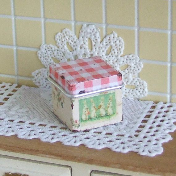 Dollhouse Miniature, Easter Canister, Square Old Tin, Gingham Decor, Rabbit Label, Floral Kitchen Decor, Shabby Cottage Chic, 1:12th Scale