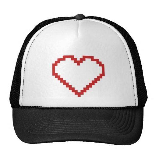 Pixel art heart cap