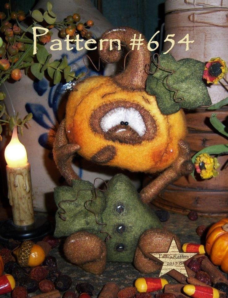 """Patti's Ratties Primitive Halloween Pumpkin Leaf Ghost 7"""" Goth Doll Pattern 654"""