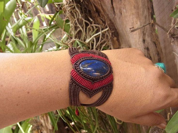 Macrame Bracelet Wristband Lapis Lazuli Stone Waxed Cord Handmade Handcrafted #Handmade