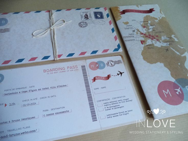 "{ M & B Travelling inspired invitations } Pormenor: Boarding pass c/ destacável /// mapa mundo c/ croqui /// envelope ""air mail"""