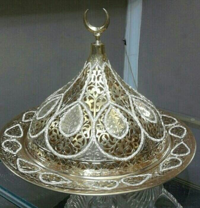 Bakır ajurlu kapaklı sahan Osmanlı tombak taşlı