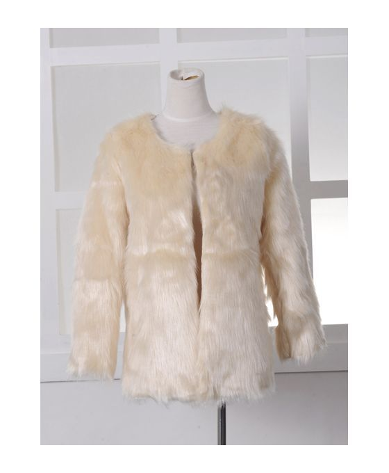 Picture color Polyester Scoop neckline Fluffy Coat