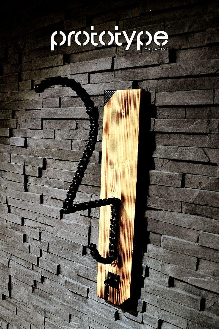 Prototype Creative - Solo Chain Helmet Rack 1 - DIY - Motorcycle chain rack created from motorcycle chain and burned wood.